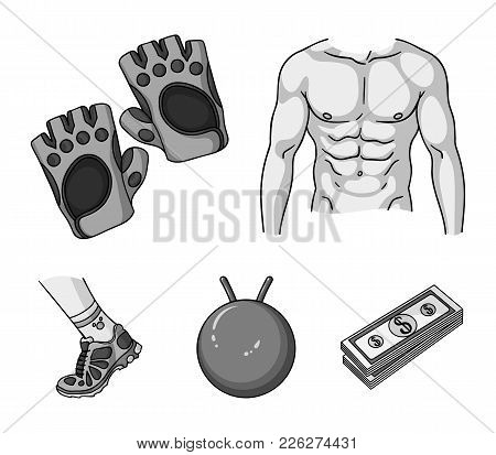 Men's Torso, Gymnastic Gloves, Jumping Ball, Sneakers. Fitnes Set Collection Icons In Monochrome Sty