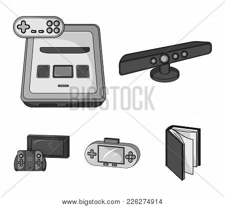 Game And Tv Set-top Box Monochrome Icons In Set Collection For Design.game Gadgets Vector Symbol Sto