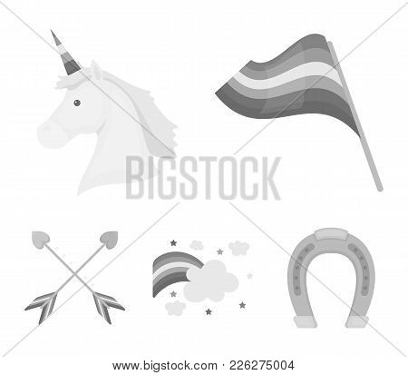 Flag, Unicorn Symbol, Arrows With Heart.gay Set Collection Icons In Monochrome Style Vector Symbol S