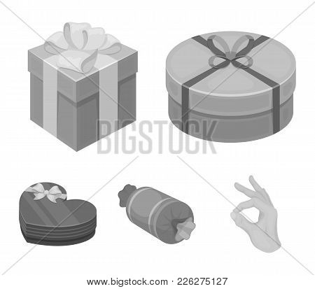 Gift Box With Bow, Gift Bag.gifts And Certificates Set Collection Icons In Monochrome Style Vector S