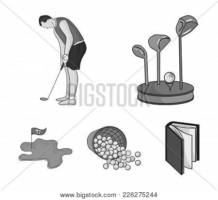 Stand For A Golf Club, Muzhchin Playing With A Club, Basket With Balls, Label With A Flag On The Gol