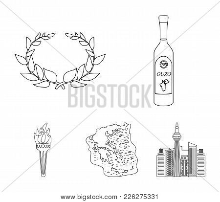Greece, Country, Tradition, Landmark .greece Set Collection Icons In Outline Style Vector Symbol Sto
