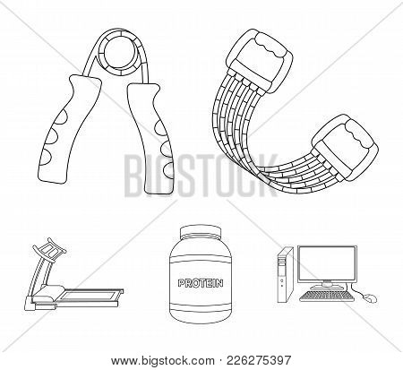 Protein, Expander And Other Equipment For Training.gym And Workout Set Collection Icons In Outline S