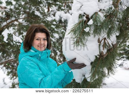 Woman In A Blue Sports Jacket In A Snow-covered Fir Forest
