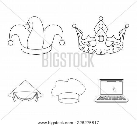 Crown, Jester's Cap, Cook, Cone. Hats Set Collection Icons In Outline Style Vector Symbol Stock Illu