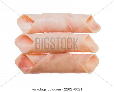 Top View Ham Sliced Roll Isolated On White Background, File Contains A Clipping Path.
