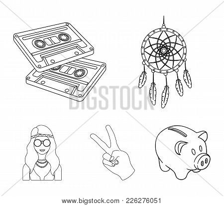 Amulet, Hippie Girl, Freedom Sign, Old Cassette.hippy Set Collection Icons In Outline Style Vector S