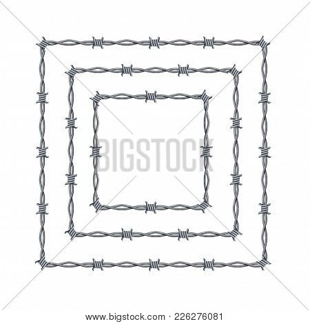 Realistic 3d Detailed Barbed Wire Frames Set Square Or Box Shape For Promotion And Advertising. Vect
