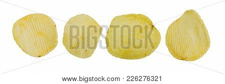 Collection Of Fried Potato Chips Snack On White Background, Junk Food.