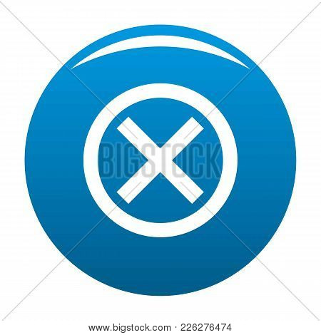 No Sign Icon Vector Blue Circle Isolated On White Background