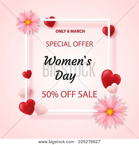 Design Banner Design With A Discount For A Happy Mother's Day. A Vertical Poster For The Sale Of A S
