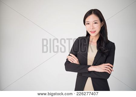 Asian Business Woman Happy Smiling Isolated On White Background. Beautiful, Pretty, Professional, Ha
