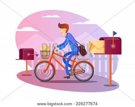 Postman On Bicycle Delivers Letters To Mail Boxes. Vector Illustration