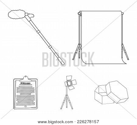 Hromakey, Script And Other Equipment. Making Movies Set Collection Icons In Outline Style Vector Sym
