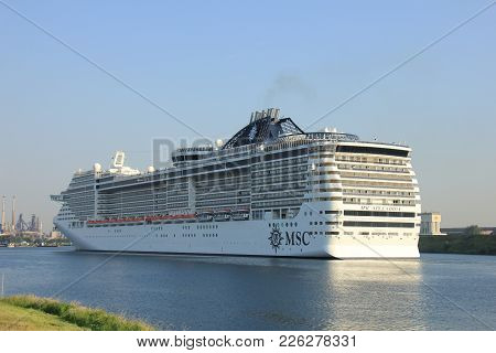 Velsen, The Netherlands - July 2nd, 2015: Msc Splendida A Cruise Ship Owned And Operated By Msc Crui