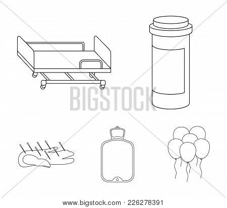 Heating Pad, Hospital Gurney, Acupuncture.mtdicine Set Collection Icons In Outline Style Vector Symb