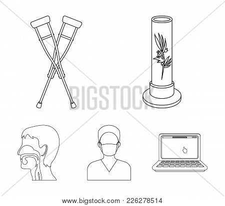 Plant In Vitro, Crutches, Nurse, Human Respiratory System. Medicine Set Collection Icons In Outline