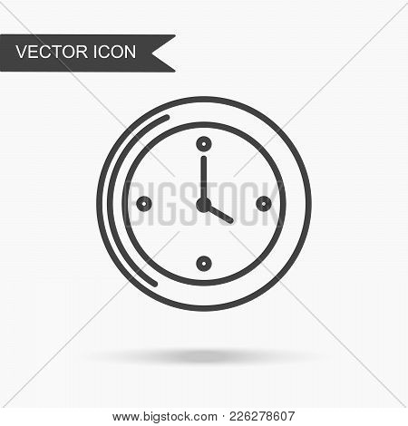 Modern And Simple Vector Illustration Of A Wall Clock. Flat Image With Thin Lines For Application, W