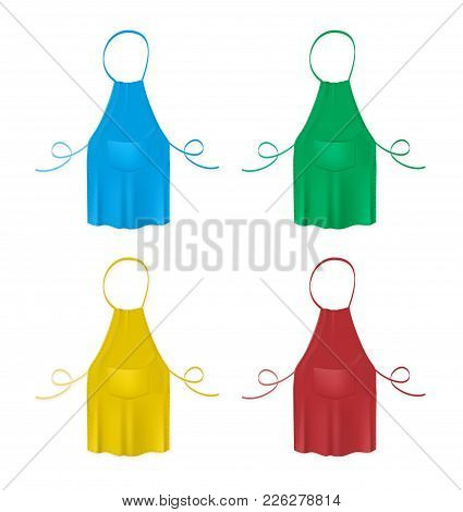 Set Of The Blank Colorful Kitchen Aprons. Collection Of Protective Garments. Blue, Green, Yellow And