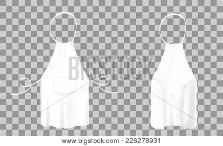 Front And Back Views Of The Blank White Kitchen Apron With Neck Strap, Waist Ties And A Pocket. Vect