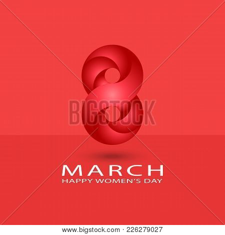 8 March Happy International Women Is Day Spring Holiday Poster Background. Red Gradient 3d 8 Number