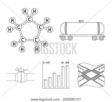 Railway Tank, Chemical Formula, Oil Price Chart, Pipeline Valve. Oil Set Collection Icons In Outline