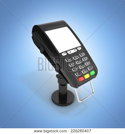 Card Payment Terminal Pos Terminal With Empty Screen Isolated On Blue Gradient Background 3d Render
