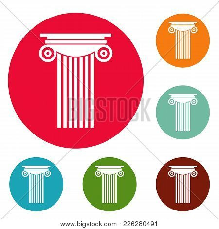 Reinforced Concrete Column Icons Circle Set Vector Isolated On White Background