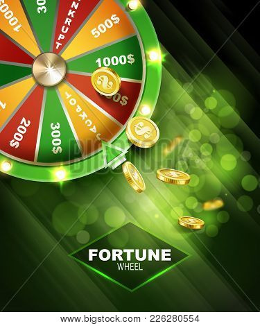 Wheel Of Fortune With Coins Gambling Background