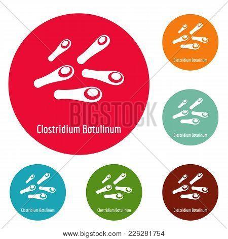 Clostridium Botulinum Icons Circle Set Vector Isolated On White Background