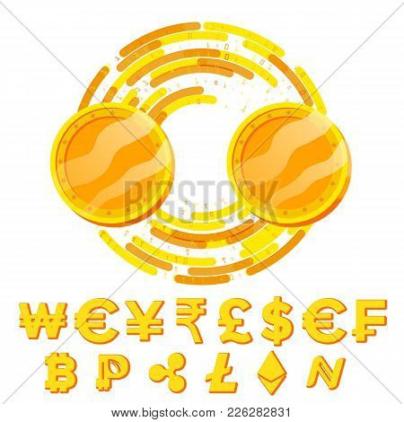 Money Currency Exchange Blank Concept Vector. Fintech Blockchain. Golden Coins With Digital Stream.