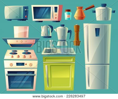 Vector Cartoon Set Of Kitchen Appliances, Fridge, Microwave, Kettle, Blender, Toaster, Cezve, Stove