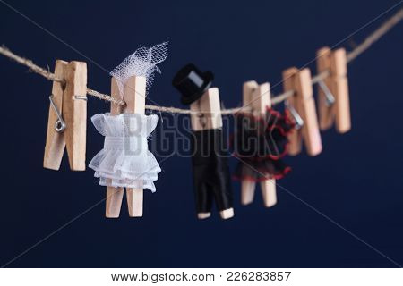 Bride And Groom Clothespin Toys, Clothesline. Abstract Woman In White Dress And Man Character With B