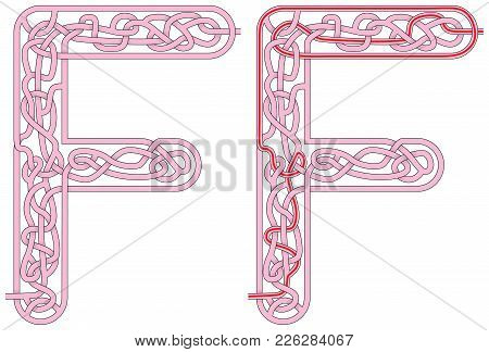 Maze In The Shape Of Capital Letter M - Worksheet For Learning Alphabet