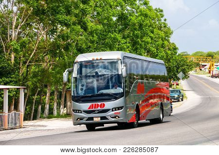 Campeche, Mexico - May 21, 2017: Intercity Coach Bus Volvo 9700 At The Interurban Road.