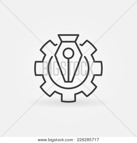 Pen Tool In Gear Vector Icon Or Design Element In Thin Line Style
