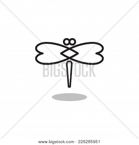 Black Line Simple Icon Of Dragonfly. Linear Logo Insect. Vector Illustration