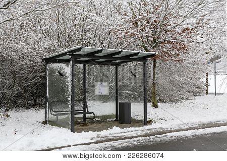 Winter Landscape / Bus Stop / Bus Stop In Winter