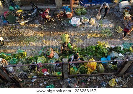 Hanoi, Vietnam - July 23, 2016: Aerial View Of Vegetable Stalls By Long Bien Fruit Market, With Earl