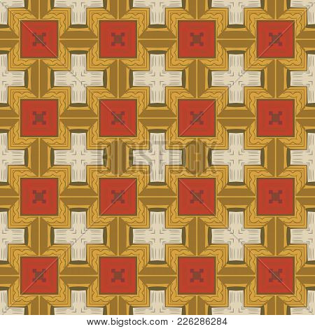 Seamless Illustrated Pattern Made Of Abstract Elements In Beige, Yellow, Red And Brown