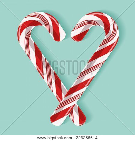 Bright Poster With Candy Cane Heart. Two Red And White Glossy Realistic Lollipops With Shadow Isolat