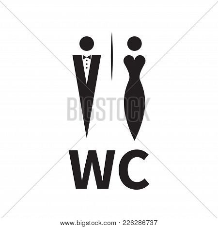 Woman In Evening Dress And Man In Tuxedo With Bow Tie. Unique Icons For Toilet, Restroom, Wc. Vector