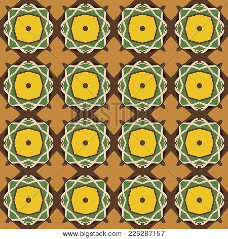 Seamless Illustrated Pattern Made Of Abstract Elements In Beige, Yellow, Green And Brown