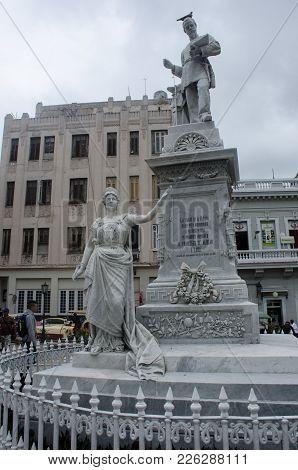 Havana Cuba - 26 January 2018: Statue Of Sculpture Engineer D Francisco De Albear Y Lara Who Was Res