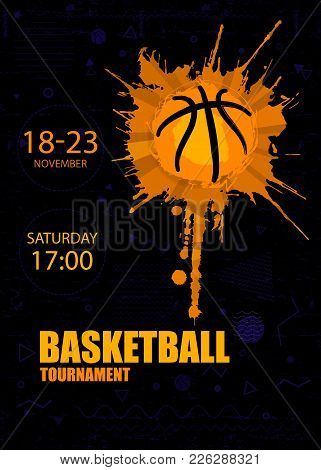 Design For Basketball. Poster For The Tournament. Abstract Creative Sports Template, Geometry, Polyg