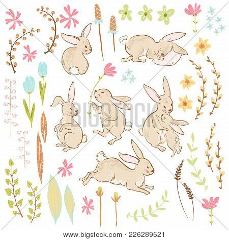 Vector Sweet Bunnies, Flowers And Branches, Easter Cute Collection. Pastel Colors. Sketchy Style.