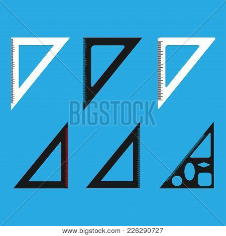 Set Of Ruler Icons. Flat Isolated Illustration Of Rules Vector Icon For Any Web Design