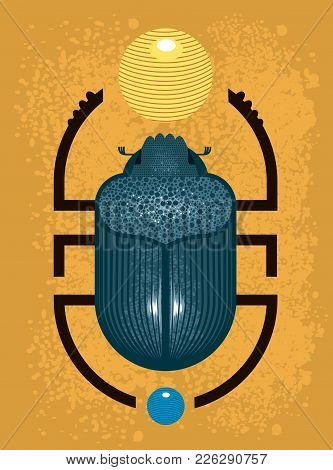 Beetle Scarab - A Symbol Of Ancient Egypt, Geometric Style On Yelow Background