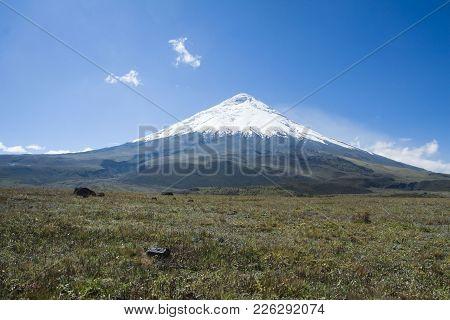 The Volcano Named Cotopaxi In Ecuador Near Quito.