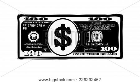 100 Dollars In Flat Cartoon Style. Vector Design Of Bill One Hundred Dollars.  Inverted Colors. Suit